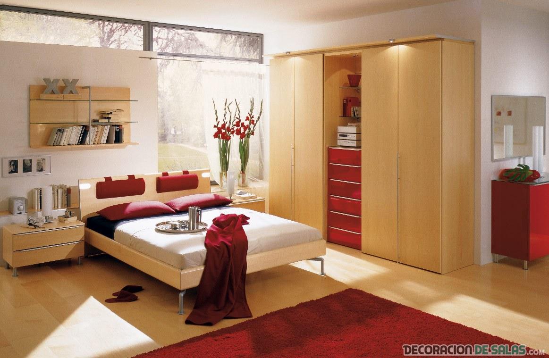 dormitorio madera y rojo