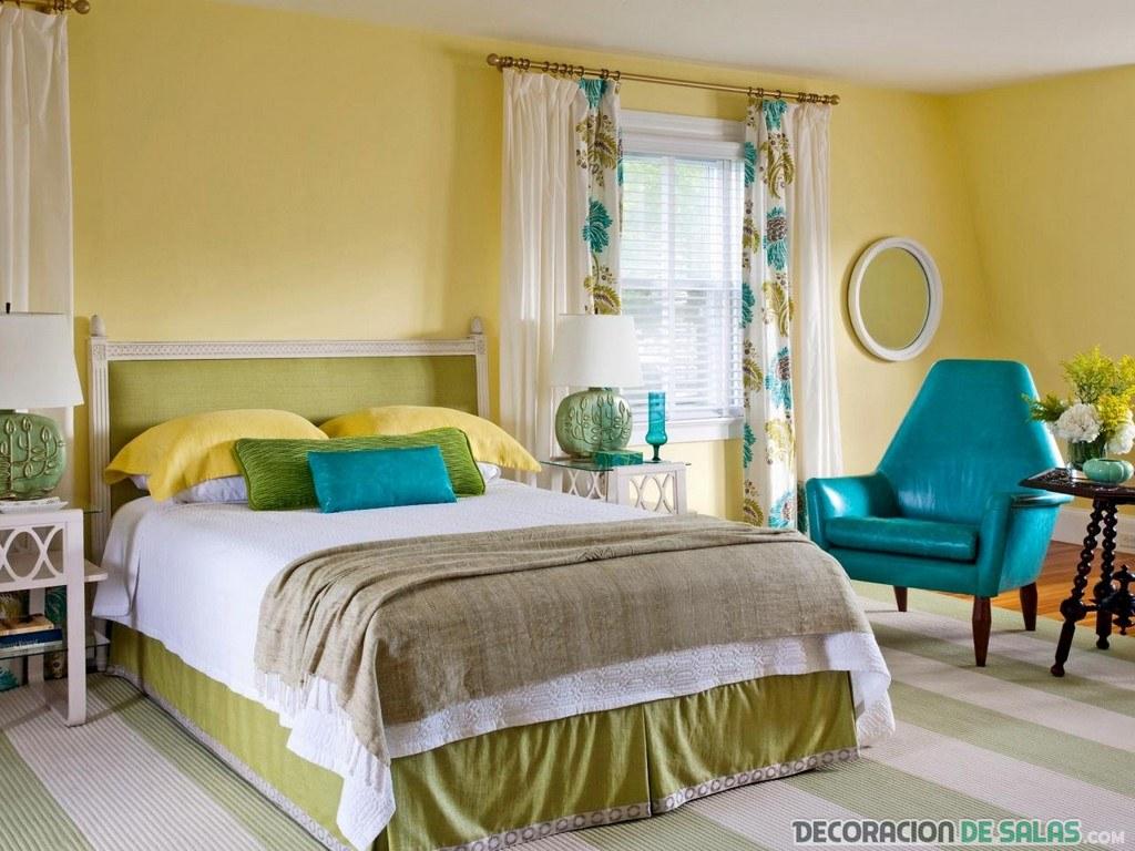 dormitorio matrimonio en amarillo y azul