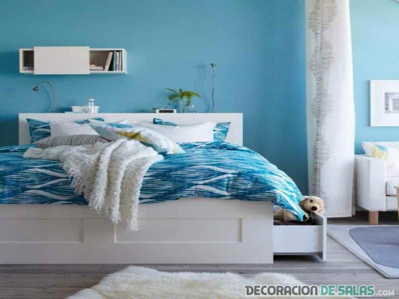 dormitorio matrimonio en azul y blanco