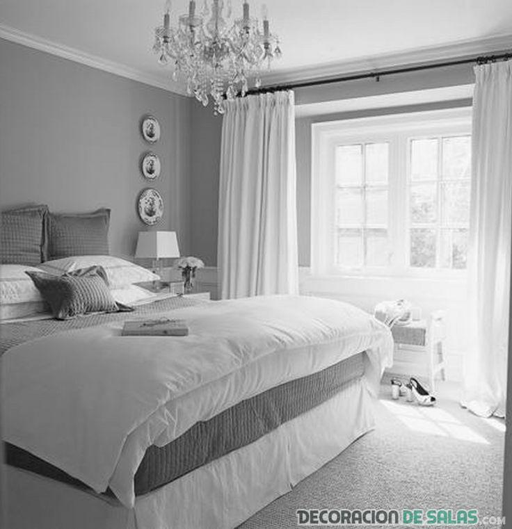 dormitorio matrimonio gris y blanco
