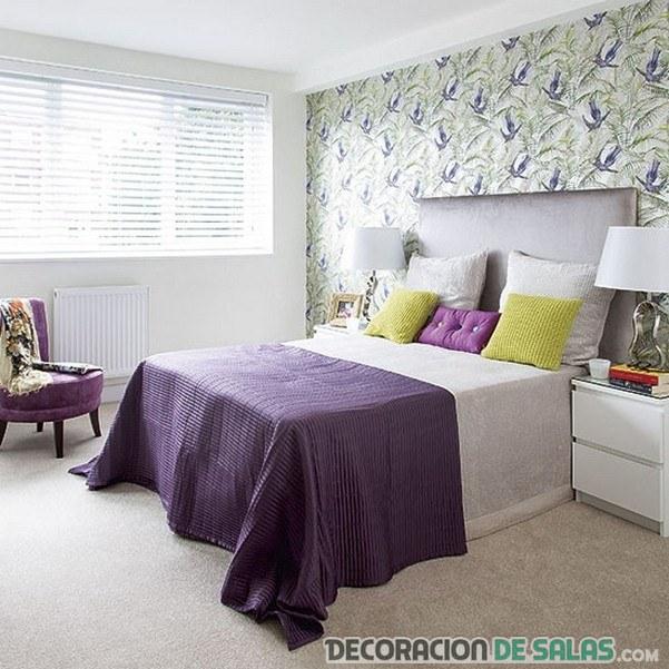 dormitorio matrimonio verde y malva