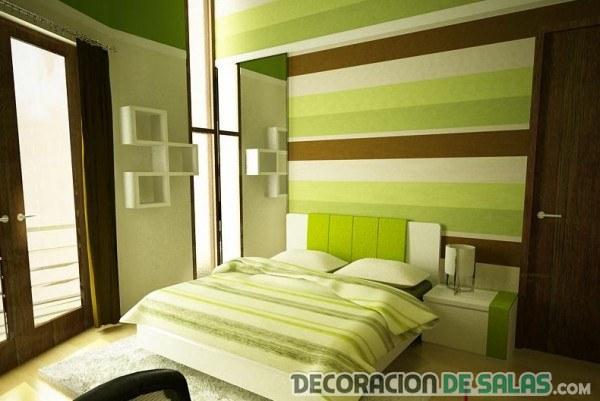 dormitorio moderno en verde y marrón