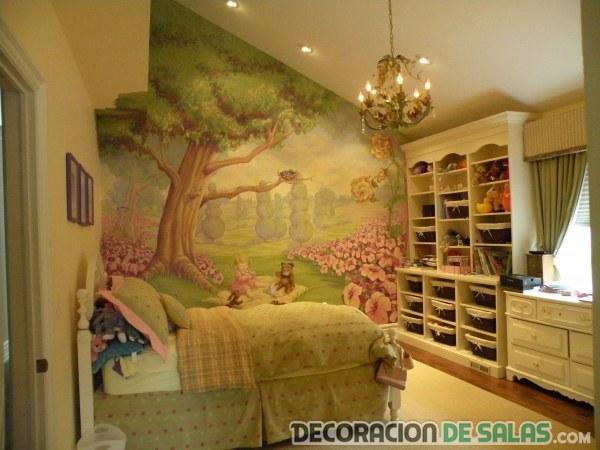 dormitorio para niña con pared dibujada