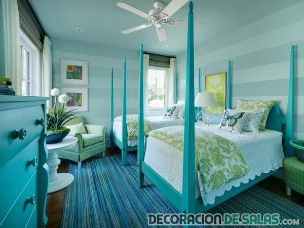 dormitorio para niñas en turquesa