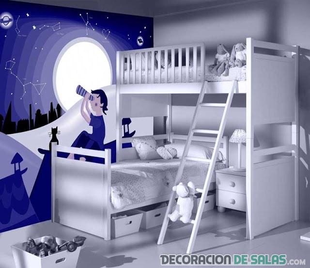 dormitorio para niños con pared pintada