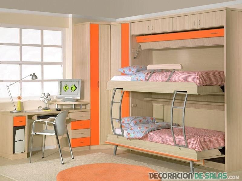 dormitorio pequeño en color naranja