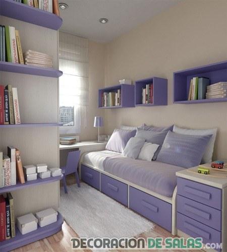 dormitorio pequeño en malva