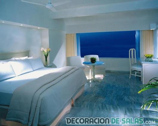 dormitorio pintado en color azul