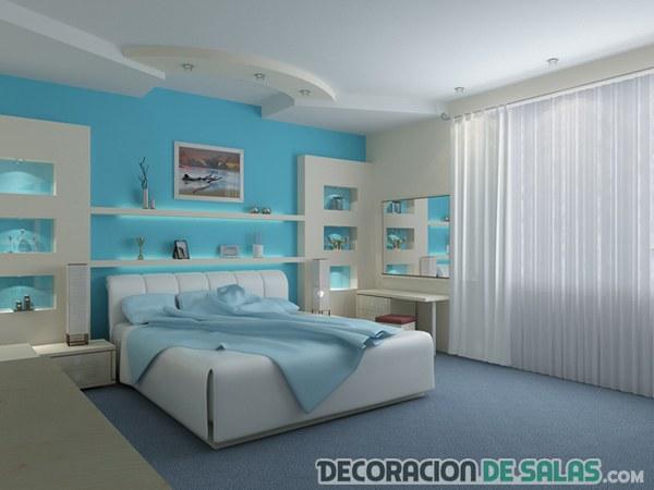 dormitorio precioso en azul y blanco