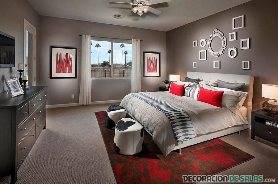 dormitorio rojo y gris moderno