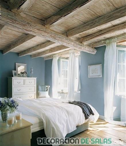 dormitorio rústico en azul