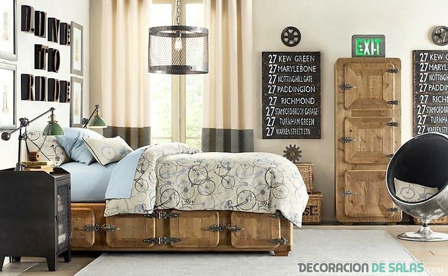 dormitorio rústico vintage en madera