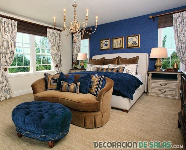 dormitorio señorial en azul