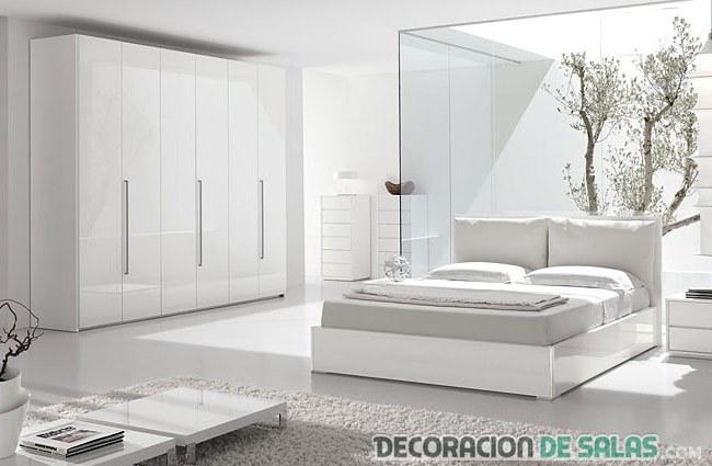 dormitorio totalmente en color blanco