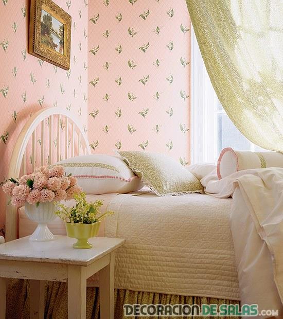 dormitorio vintage papel pintado