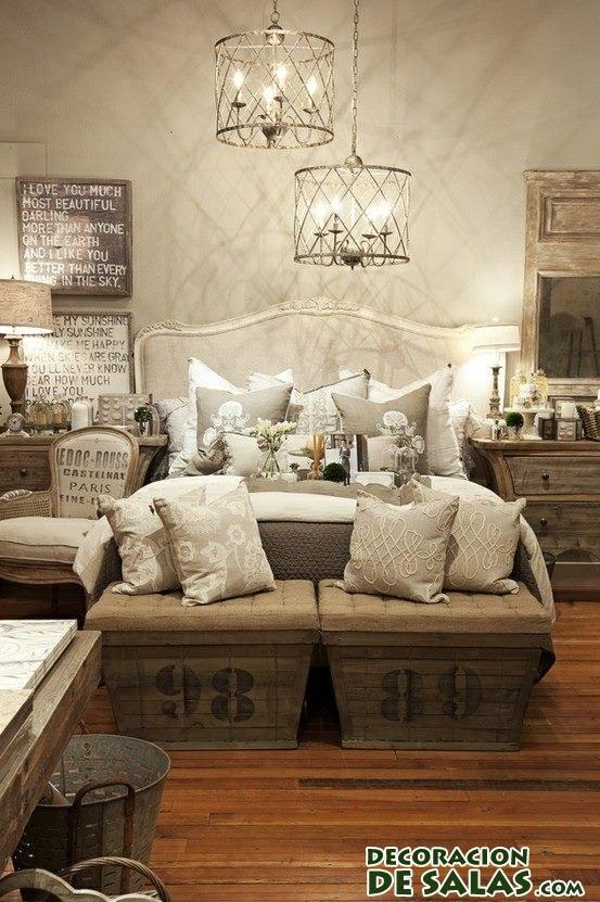 dos bancos de estilo rústico para dormitorio