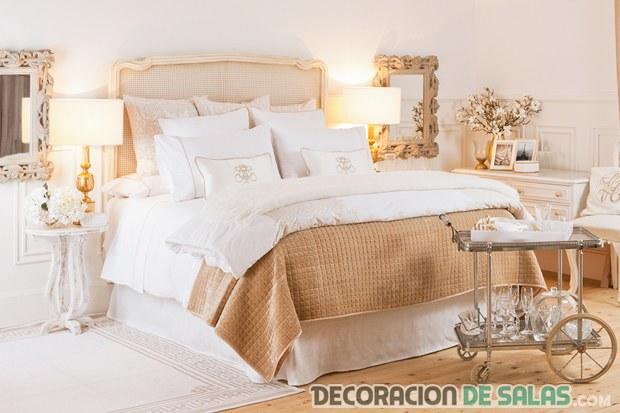 el color dorado en la decoración de dormitorios