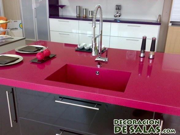 encimeras en color rosa de cuarzo