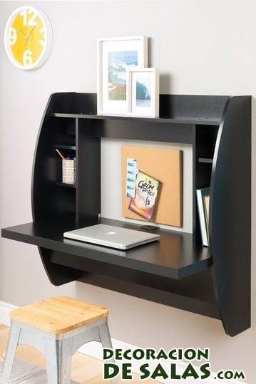 escritorio negro para pared