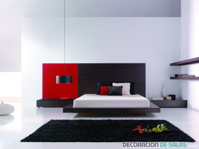 habitación combinada en color rojo