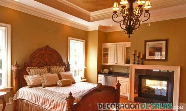 habitación con molduras