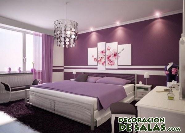habitación con paredes en color malva