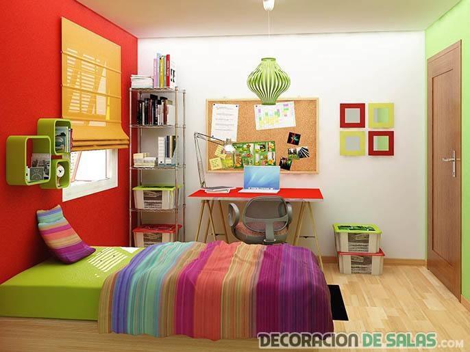 habitación de estudiante a todo color