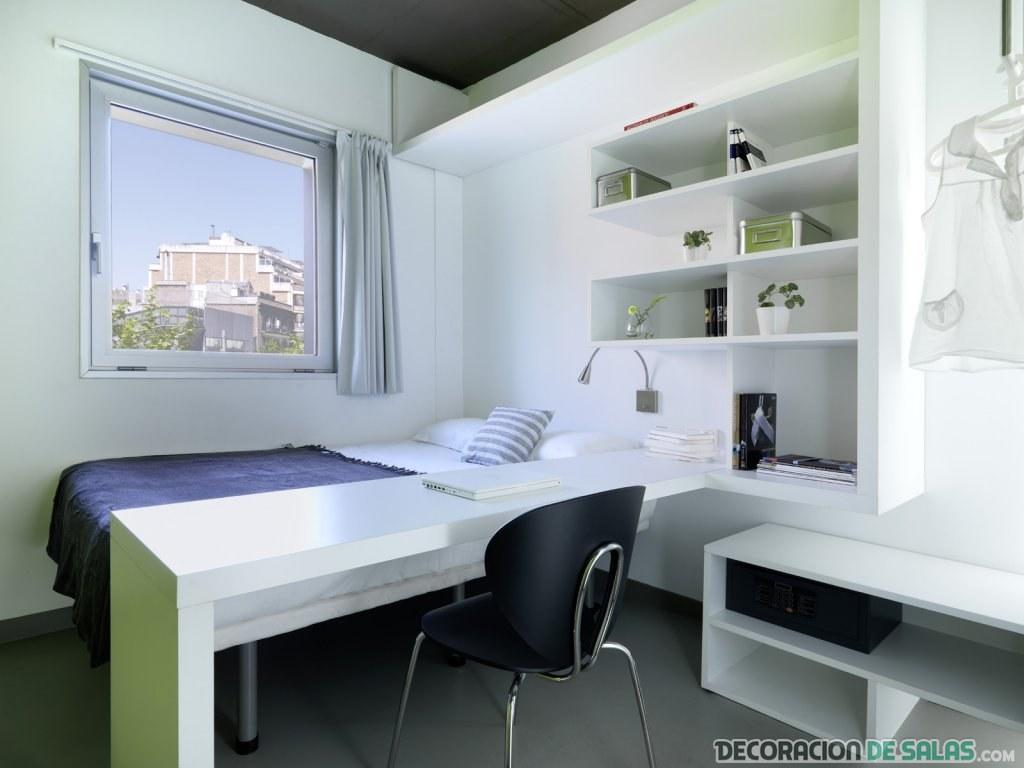 habitación de estudiante en blanco