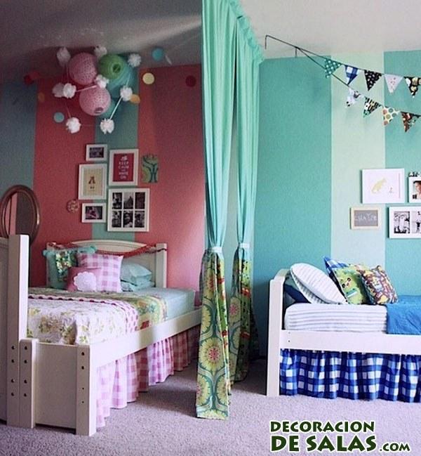 habitacion doble con cortinas