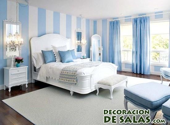 habitación en color azul y blanco