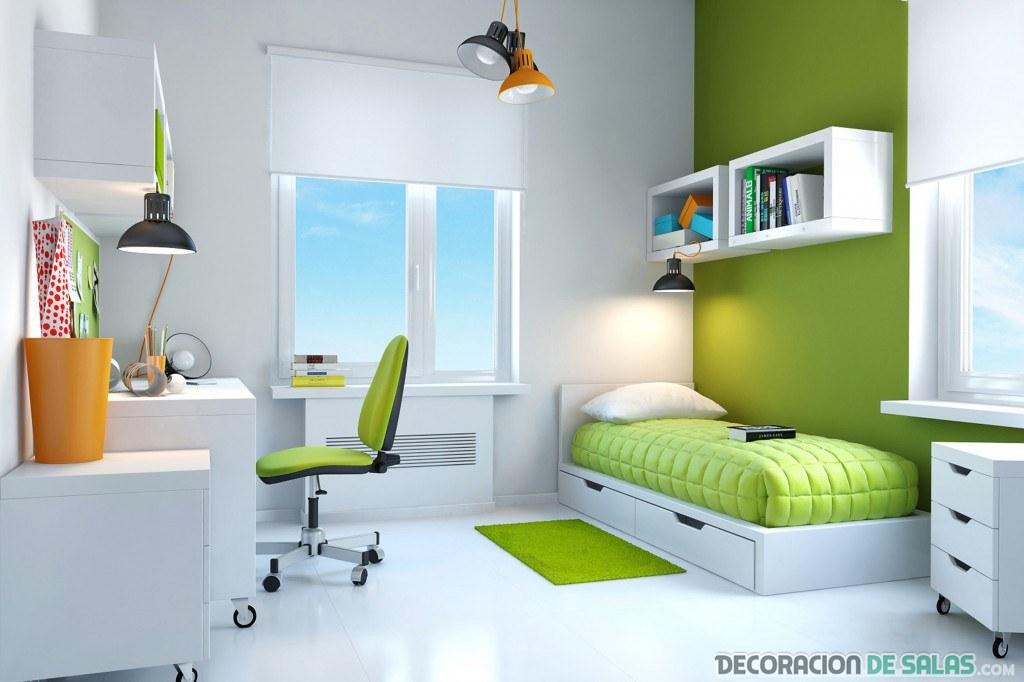 habitación juvenil con color verde
