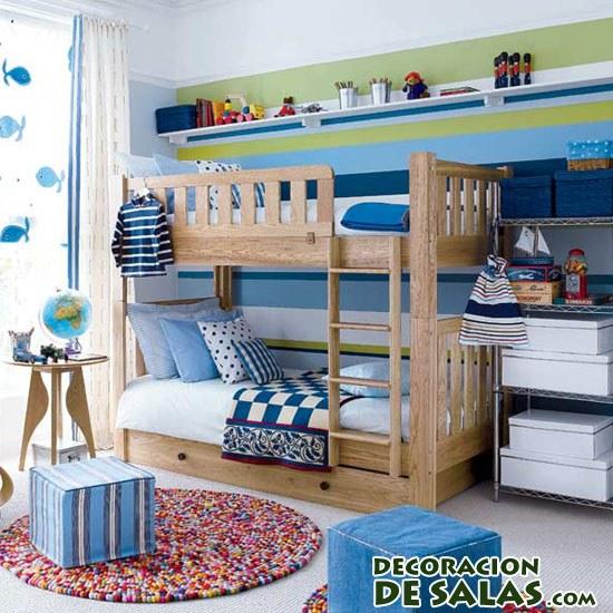 habitación juvenil en azul y madera