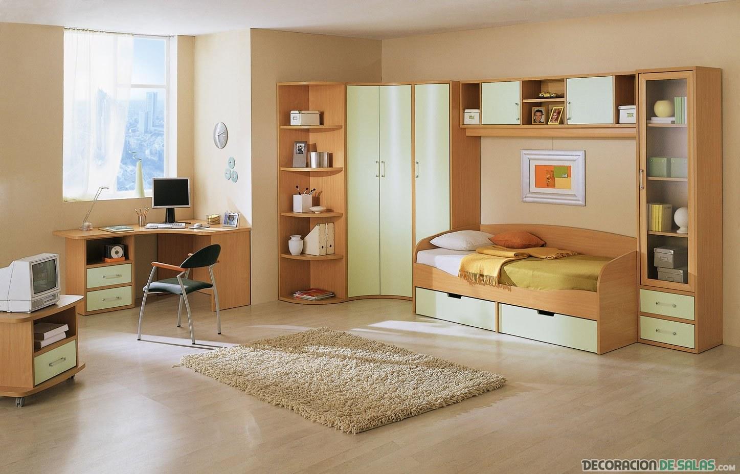 habitación juvenil en beige
