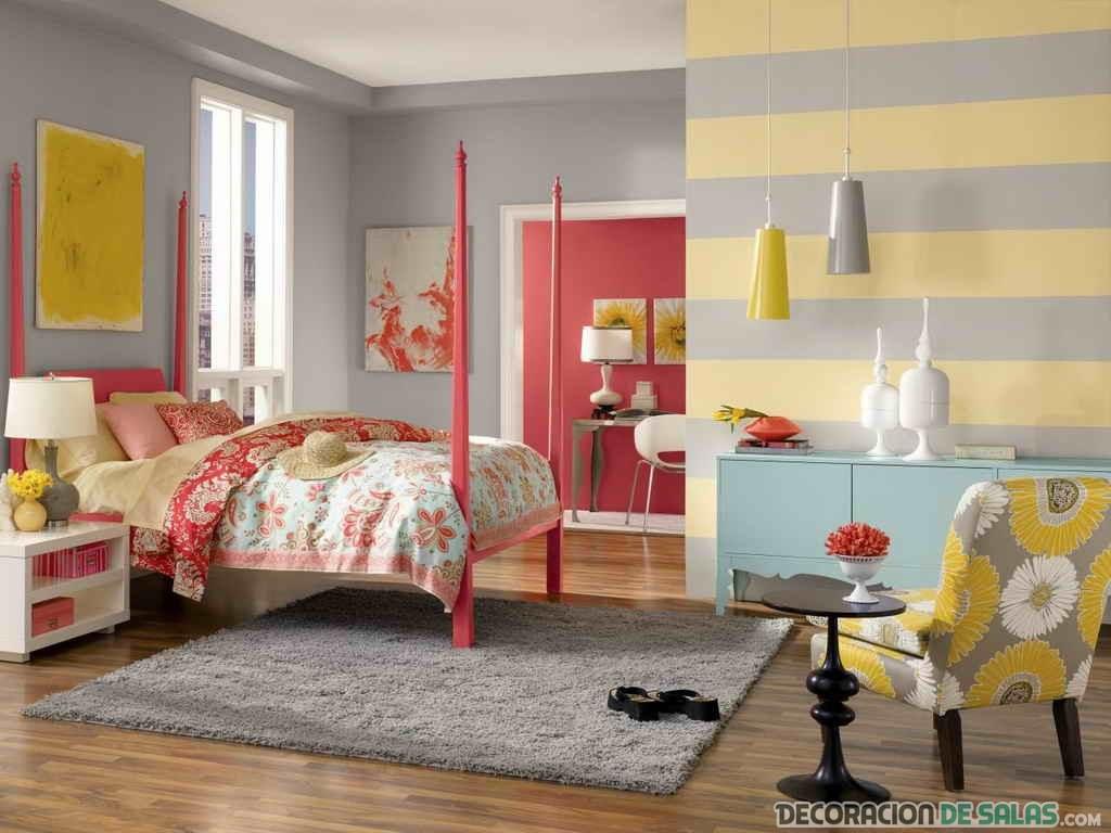 habitación juvenil en color coral
