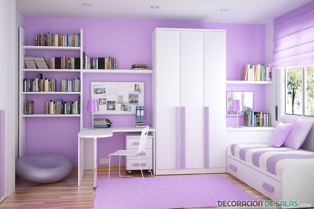 habitación juvenil en lila claro