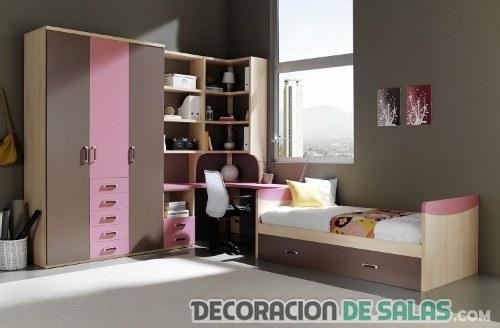 habitación juvenil en marrón y rosa