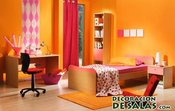 habitación juvenil en naranja