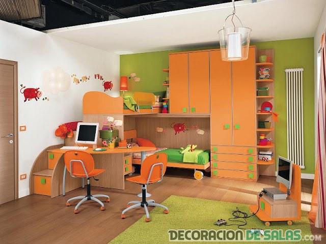 habitación naranja juvenil