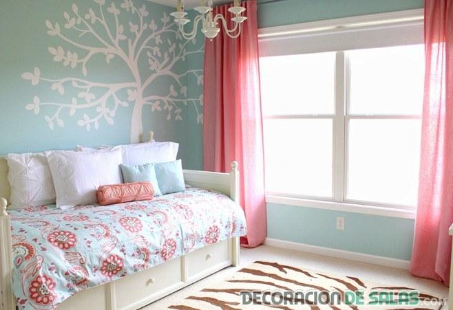 habitaciones combinadas en azul y coral