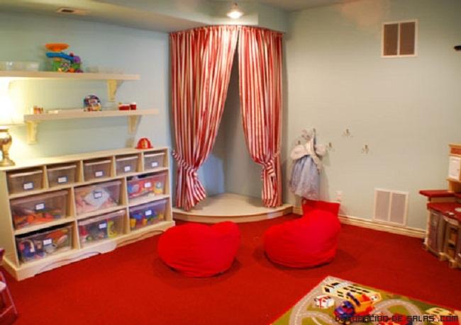 habitaciones decoradas en color rojo para niños