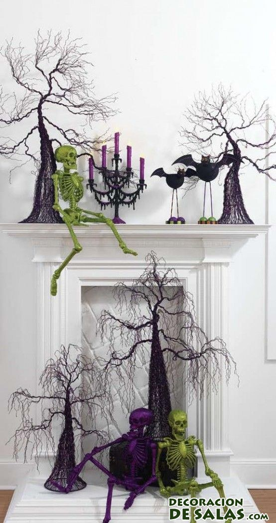 ideas para decorar la chimenea en halloween