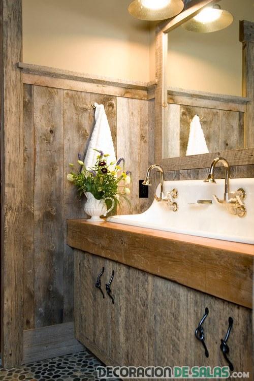 ideas para un baño rústico pequeño