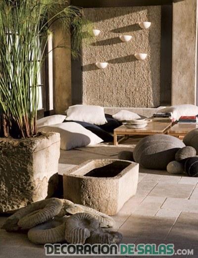 jardín con decoración zen