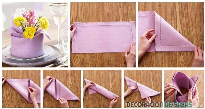 jarrón hecho con servilletas