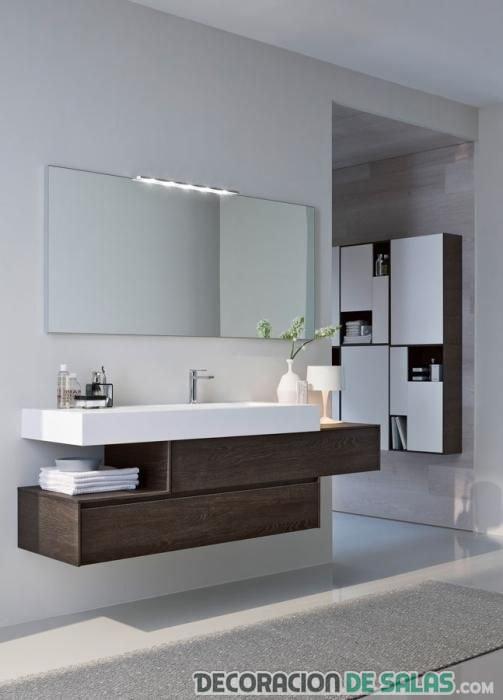 lavabo en madera y blanco