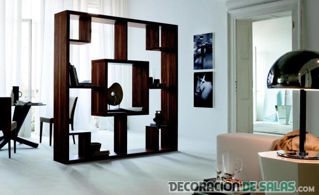 librería separador de ambientes en madera