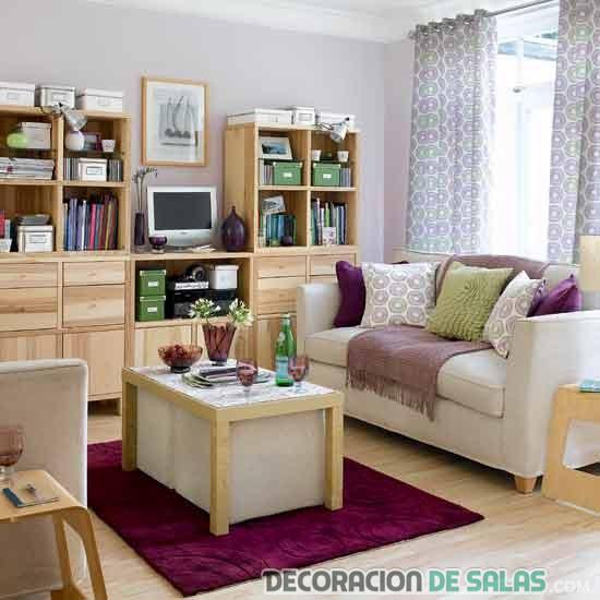 librerías altas para salones pequeños