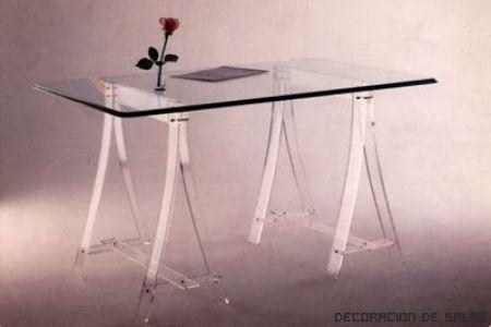 mesa caballete vidrio