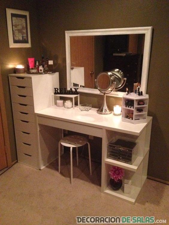 mesa con dos estanterías de tocador