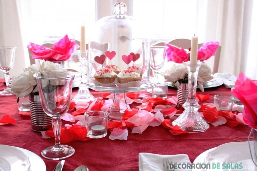 mesa decorada para san valentín